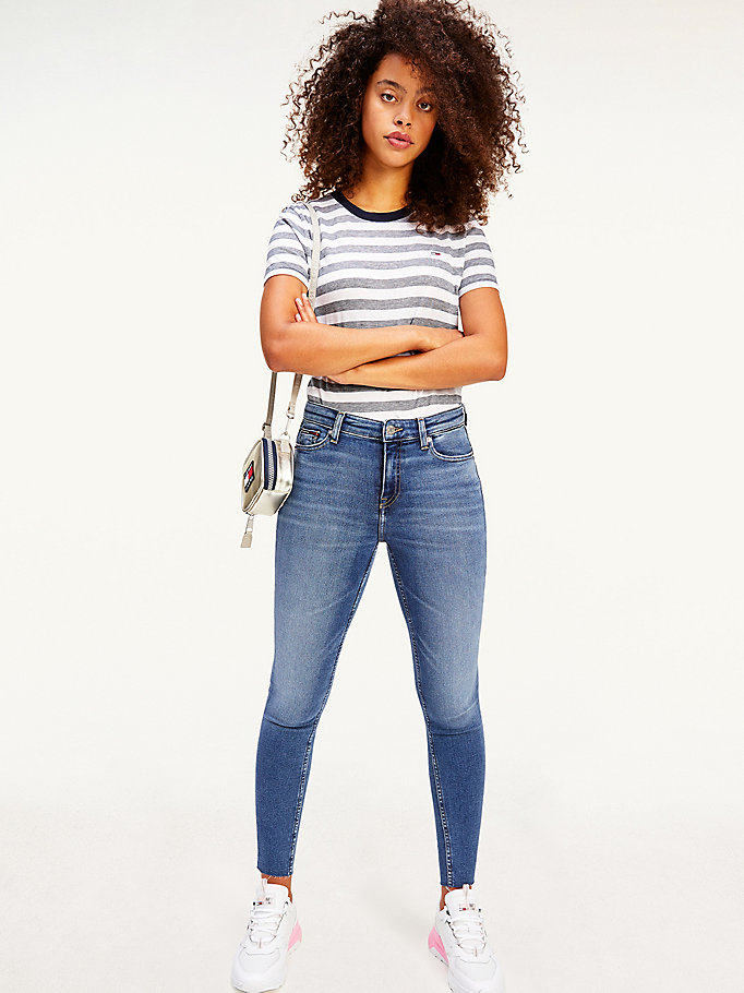 jeans cropped nora skinny fit a vita media denim da donna tommy jeans