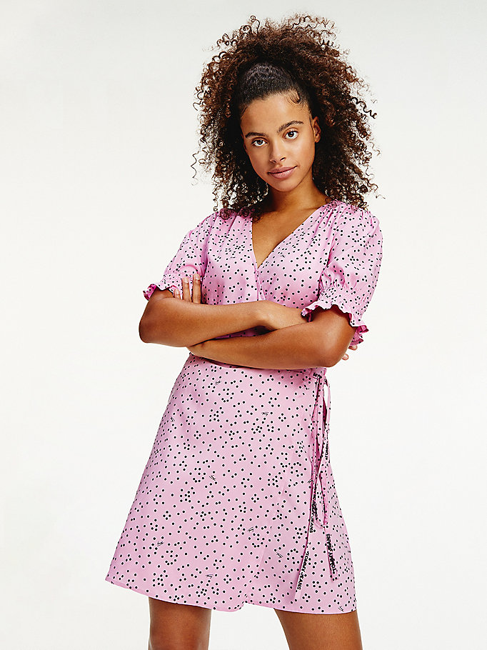 pink polka dot viscose wrap dress for women tommy jeans