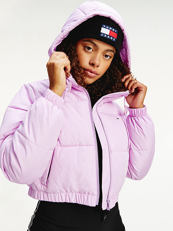 purple cropped puffer jacket for women tommy jeans