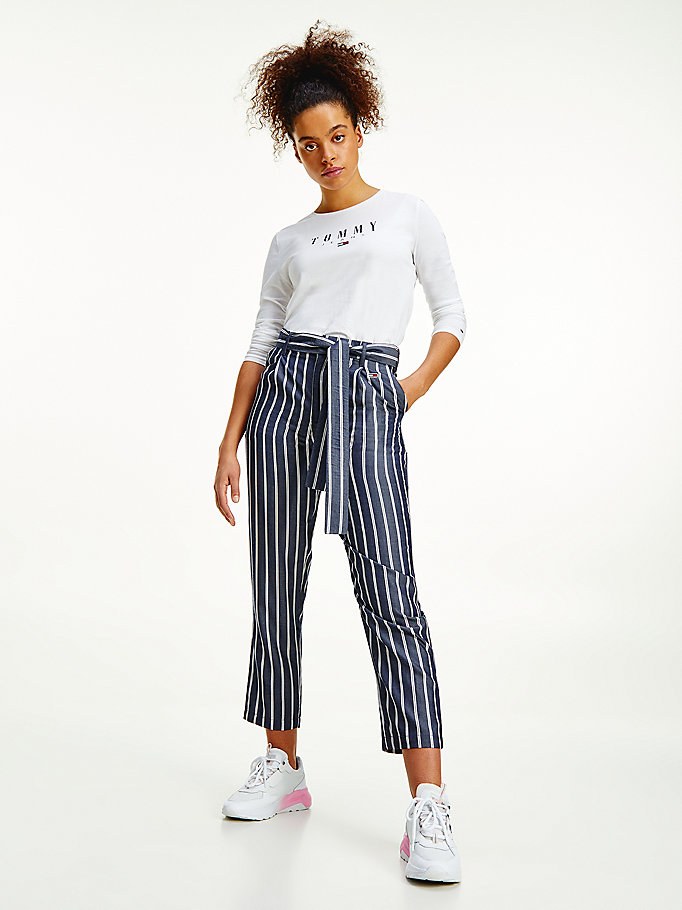 blue stripe tapered trousers for women tommy jeans