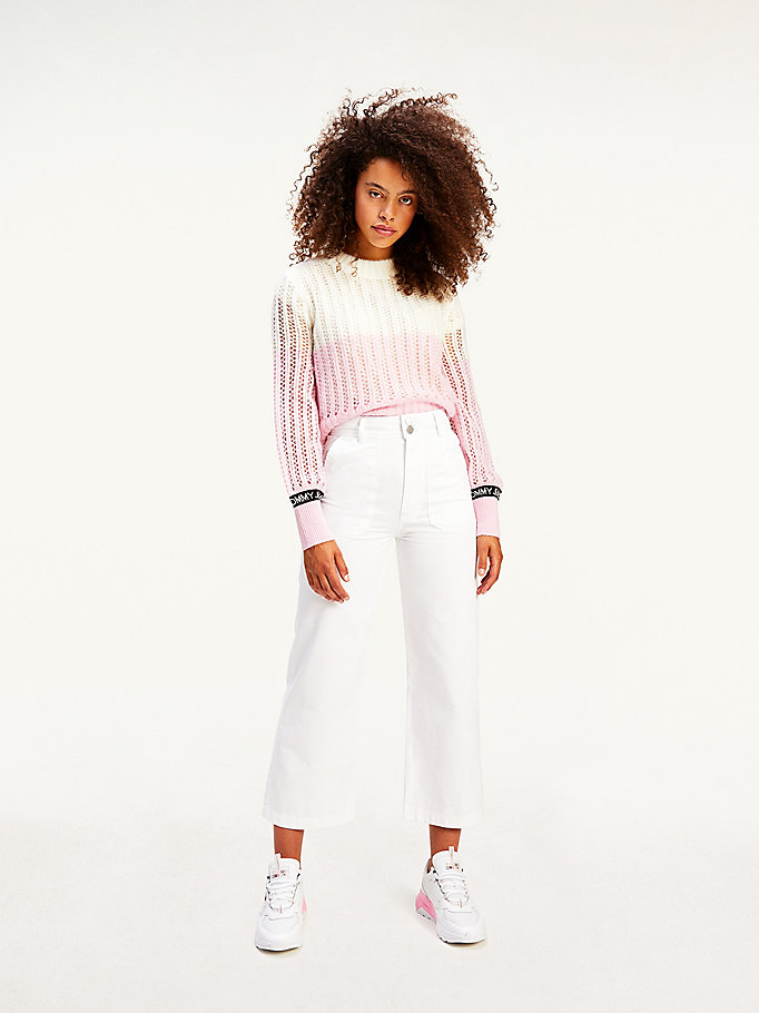 white tommy badge high rise straight trousers for women tommy jeans