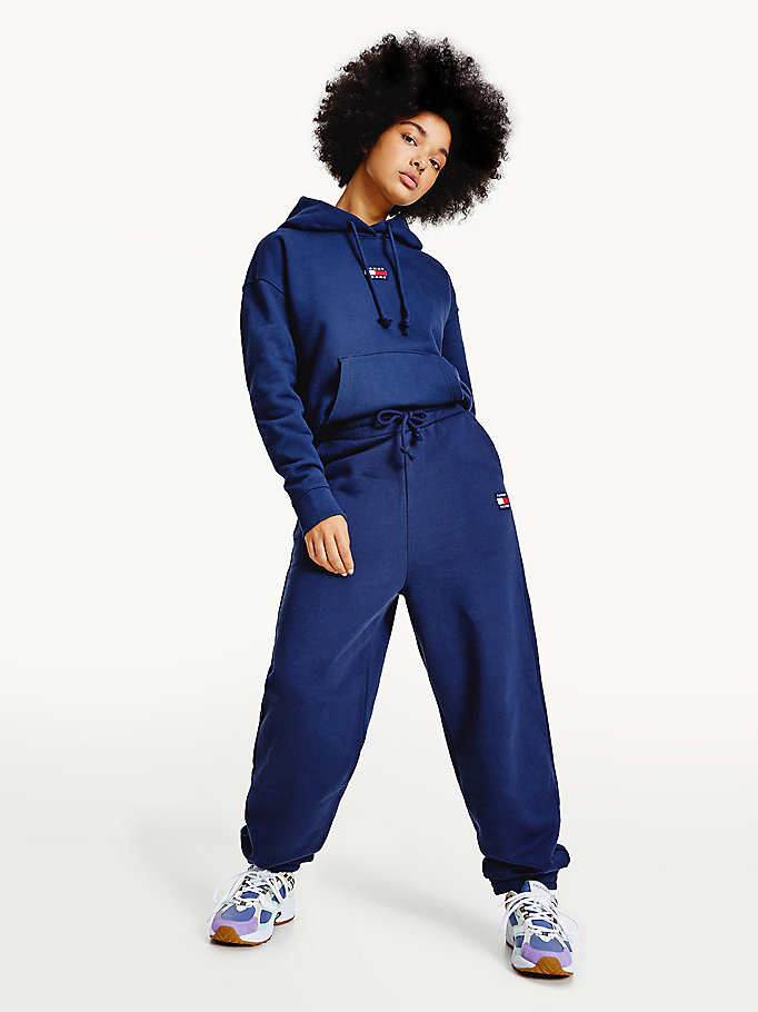 blue tommy badge relaxed fit joggers for women tommy jeans