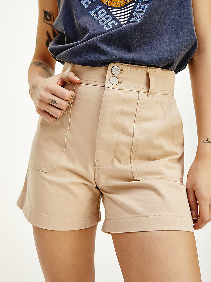 beige harper tommy badge high rise shorts for women tommy jeans