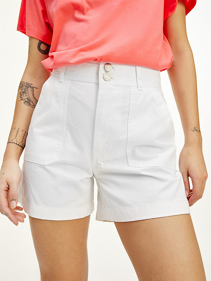 white harper tommy badge high rise shorts for women tommy jeans
