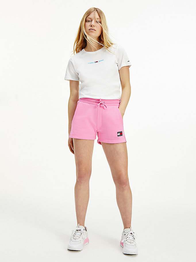 roze fleece short met tommy-badge voor dames - tommy jeans