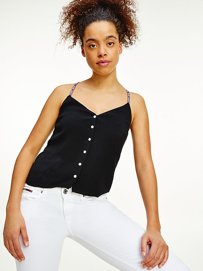 black repeat logo tape viscose camisole for women tommy jeans