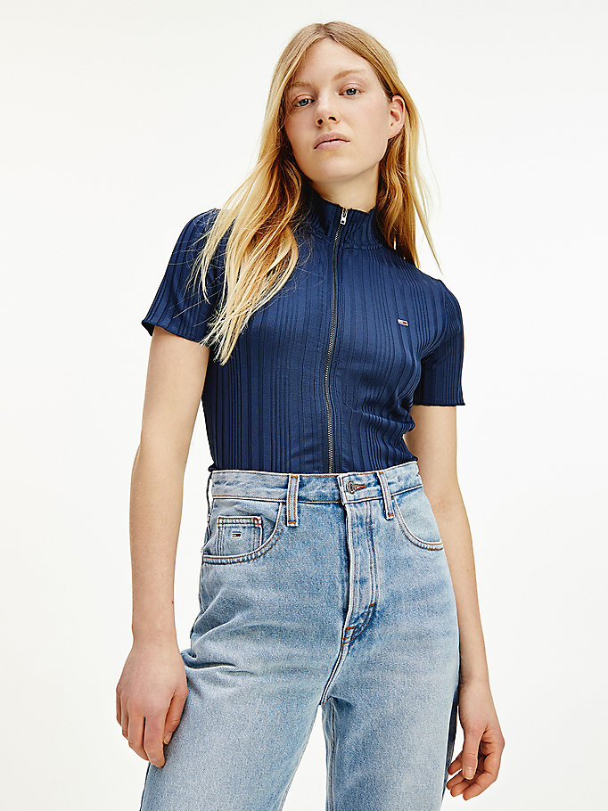 M to XL Vintage blue ribbed shirt