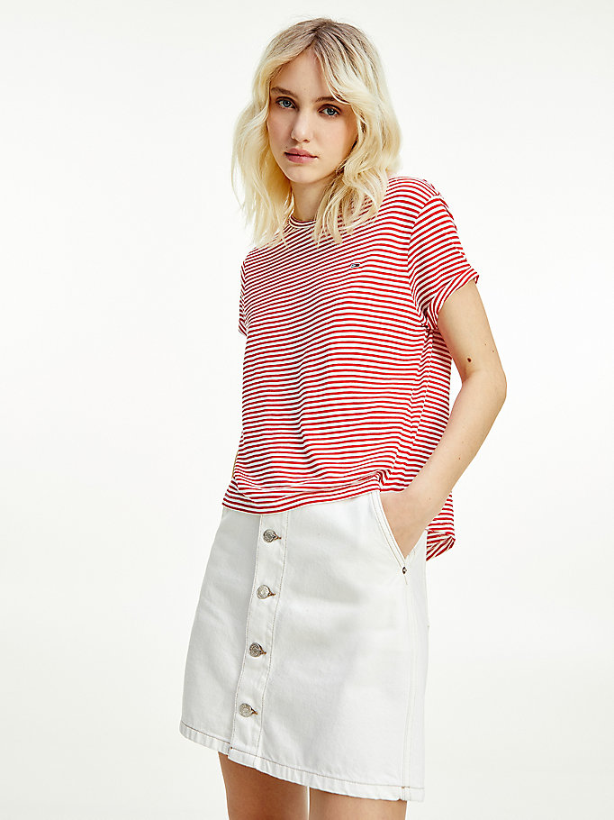 red stripe relaxed fit t-shirt for women tommy jeans