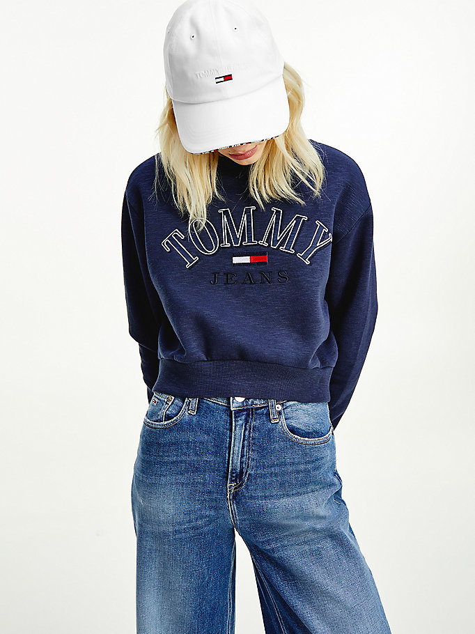 blue logo cropped sweatshirt for women tommy jeans