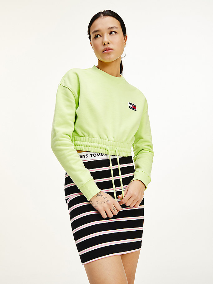green tommy badge cropped organic cotton sweatshirt for women tommy jeans