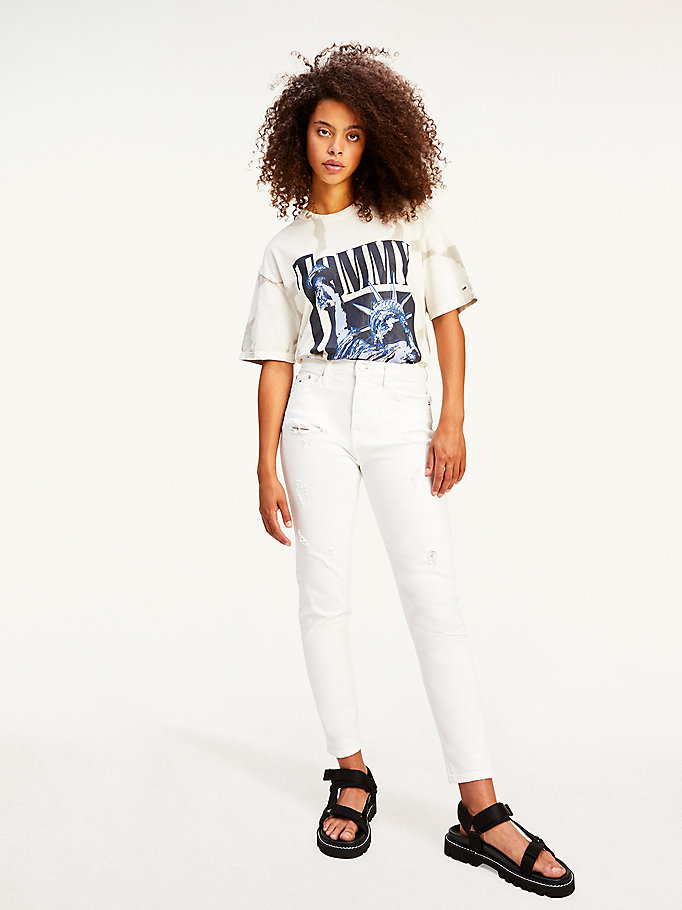 white bleached design relaxed fit t-shirt for women tommy jeans