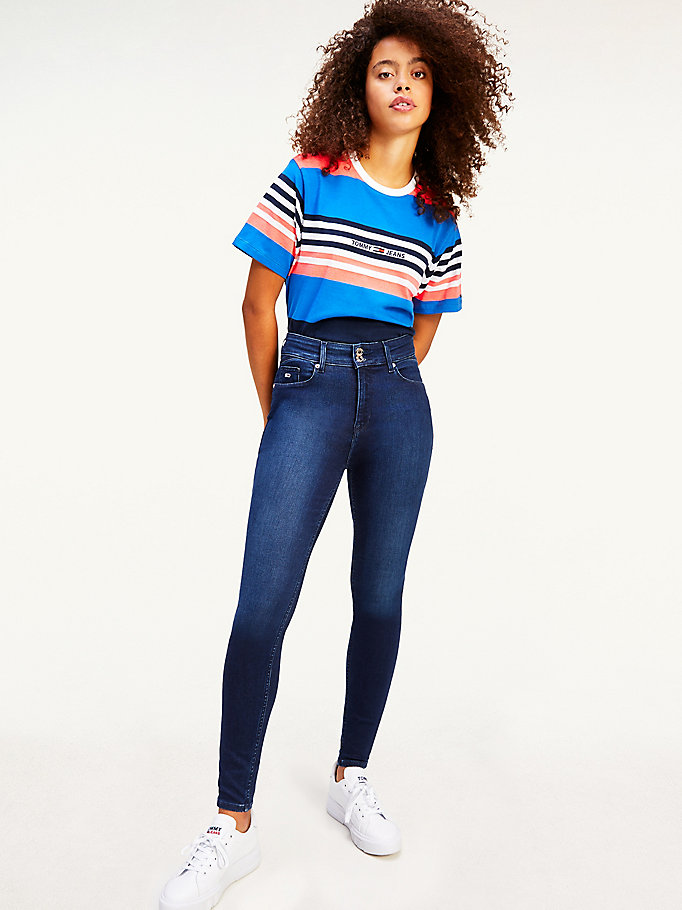 blau cropped fit t-shirt mit logo-stickerei für women - tommy jeans