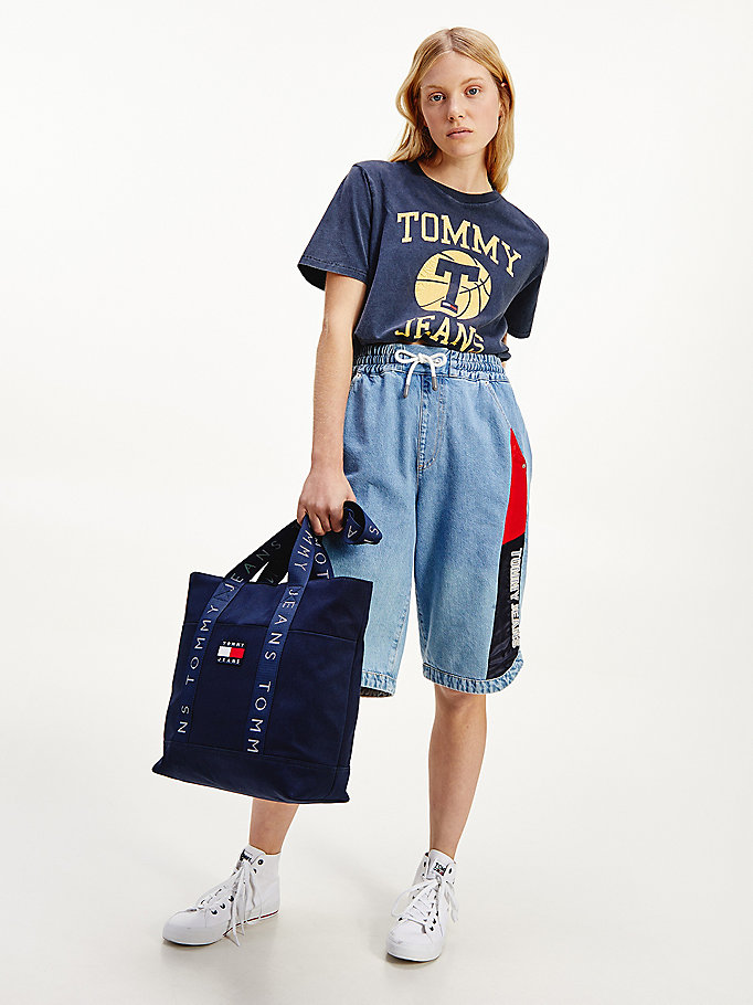 blue vintage logo cropped fit t-shirt for women tommy jeans