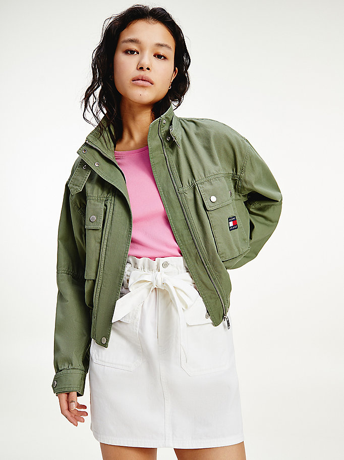 green tommy badge canvas cropped utility jacket for women tommy jeans