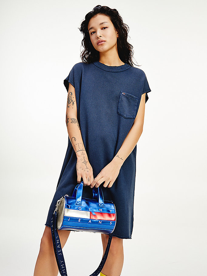 blue basketball logo t-shirt dress for women tommy jeans