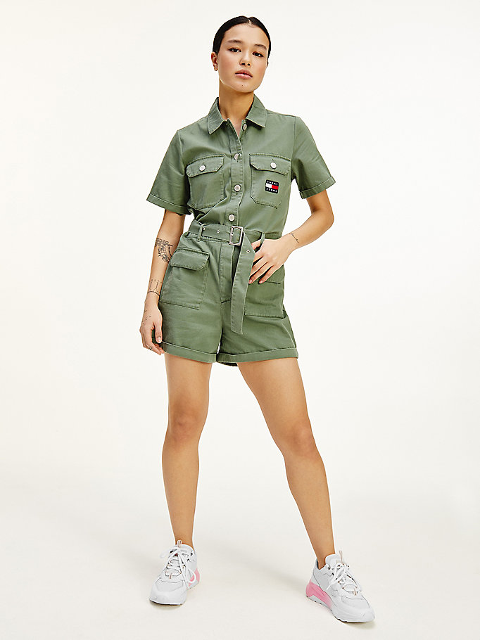 green tommy badge belted short boilersuit for women tommy jeans