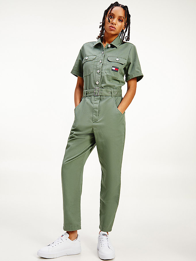 green tommy badge belted boilersuit for women tommy jeans