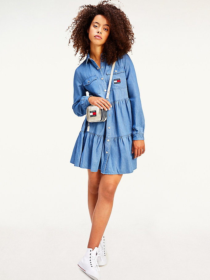 denim tommy badge gathered denim shirt dress for women tommy jeans