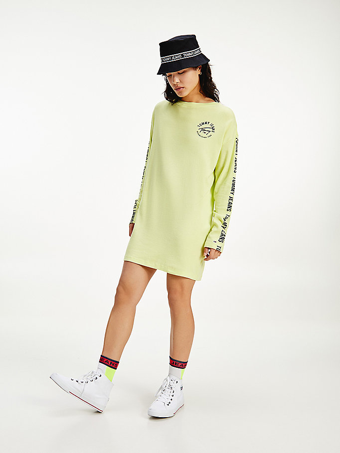 green logo tape long sleeve t-shirt dress for women tommy jeans