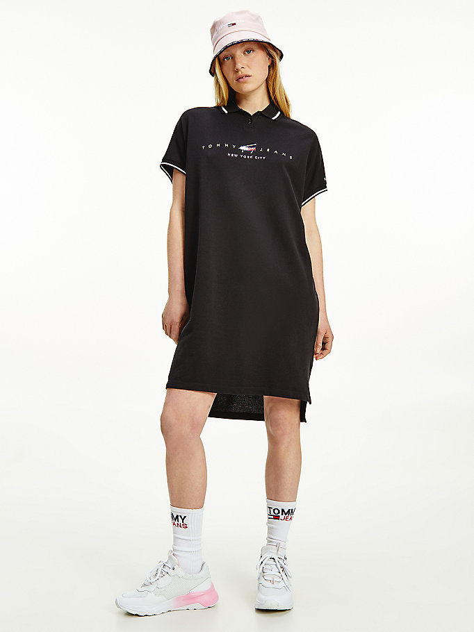 black modern logo polo dress for women tommy jeans