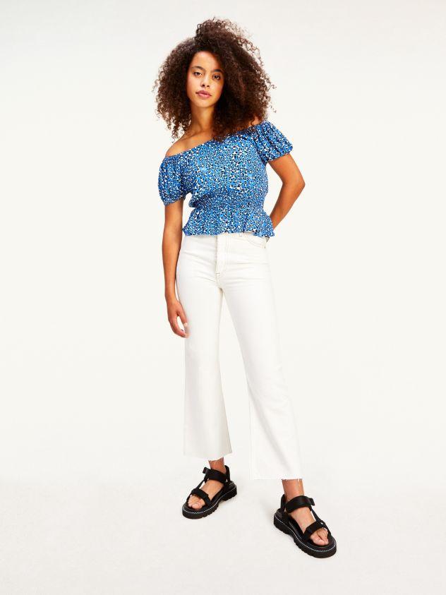 Jeans cropped Harper straight fit a vita alta bianchi