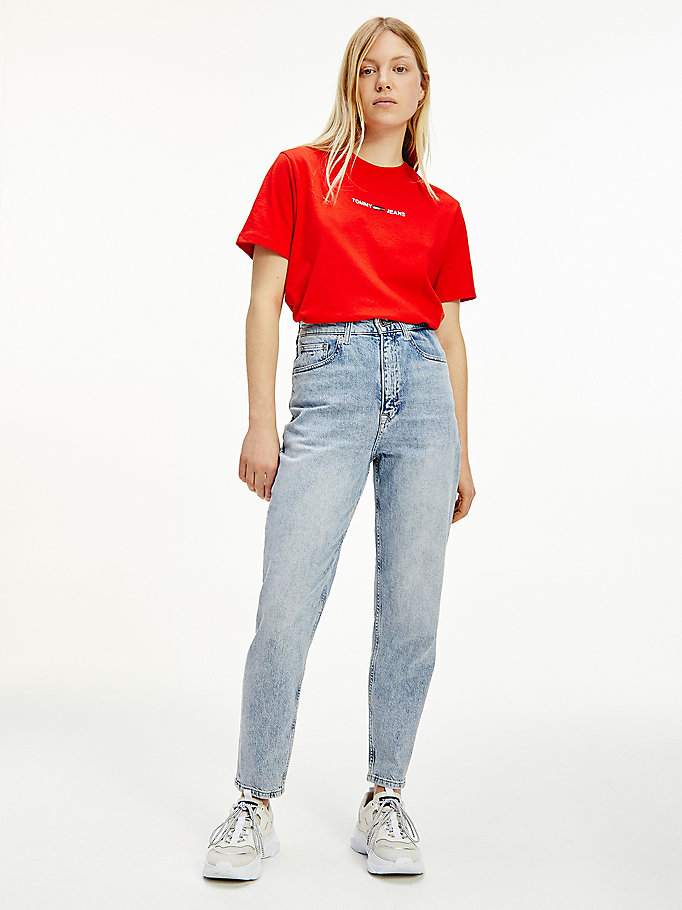 denim mom ultra high rise tapered jeans for women tommy jeans