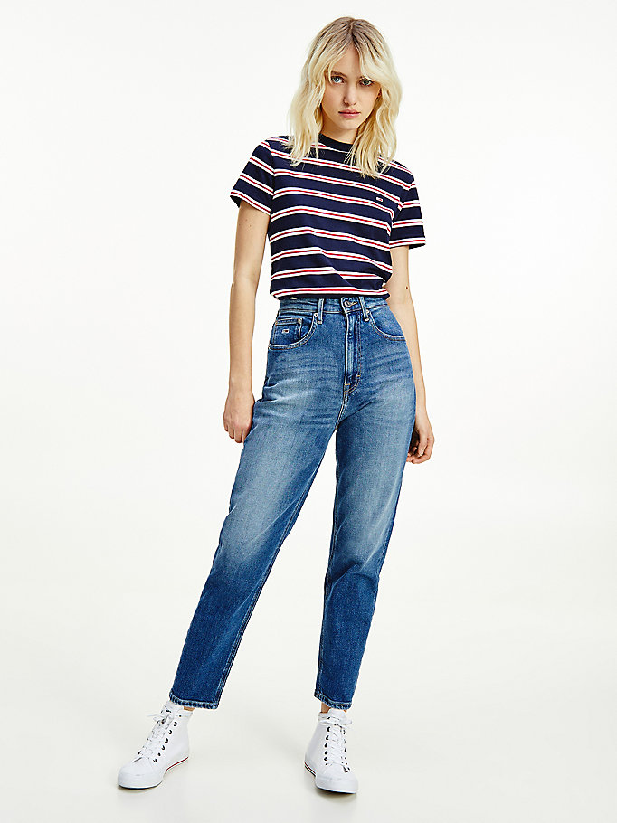 denim mom super high rise tapered jeans for women tommy jeans