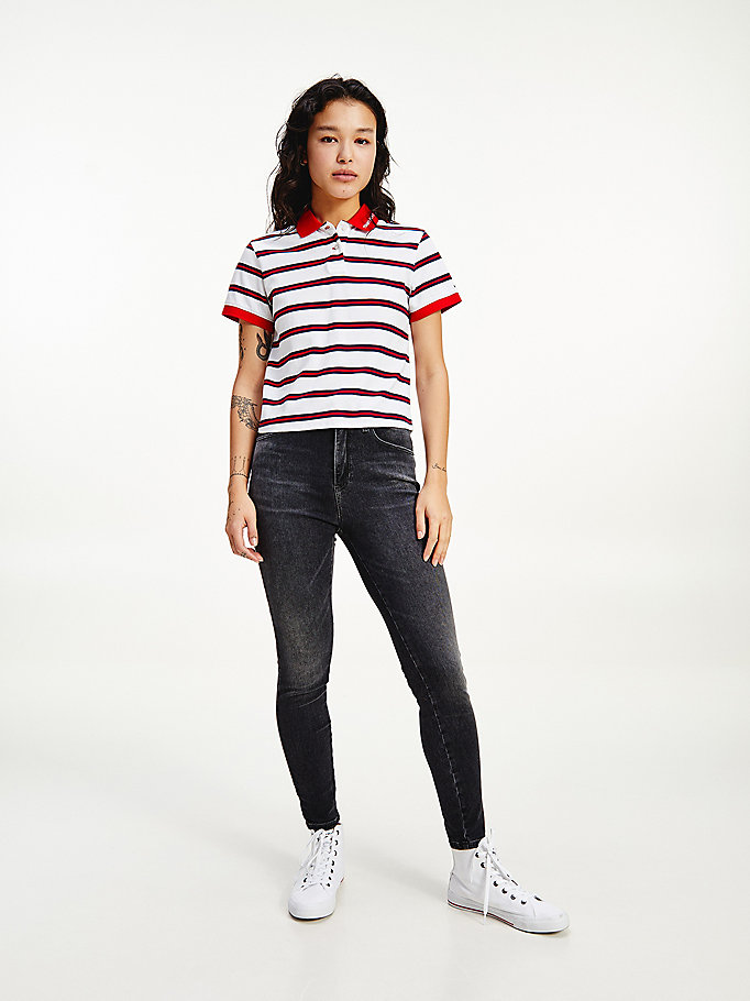 white contrast collar cropped polo for women tommy jeans