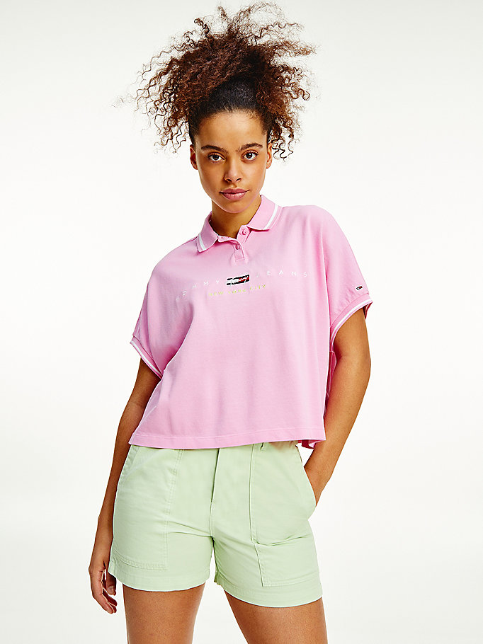 pink new york logo embroidery polo for women tommy jeans