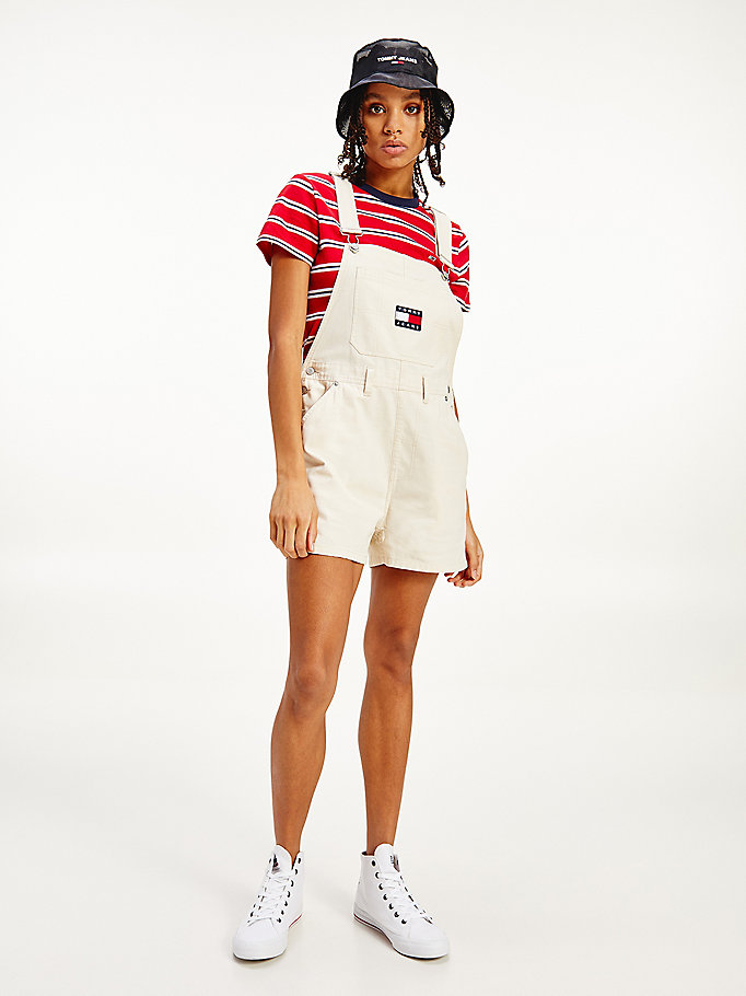 beige organic cotton dungaree shorts for women tommy jeans