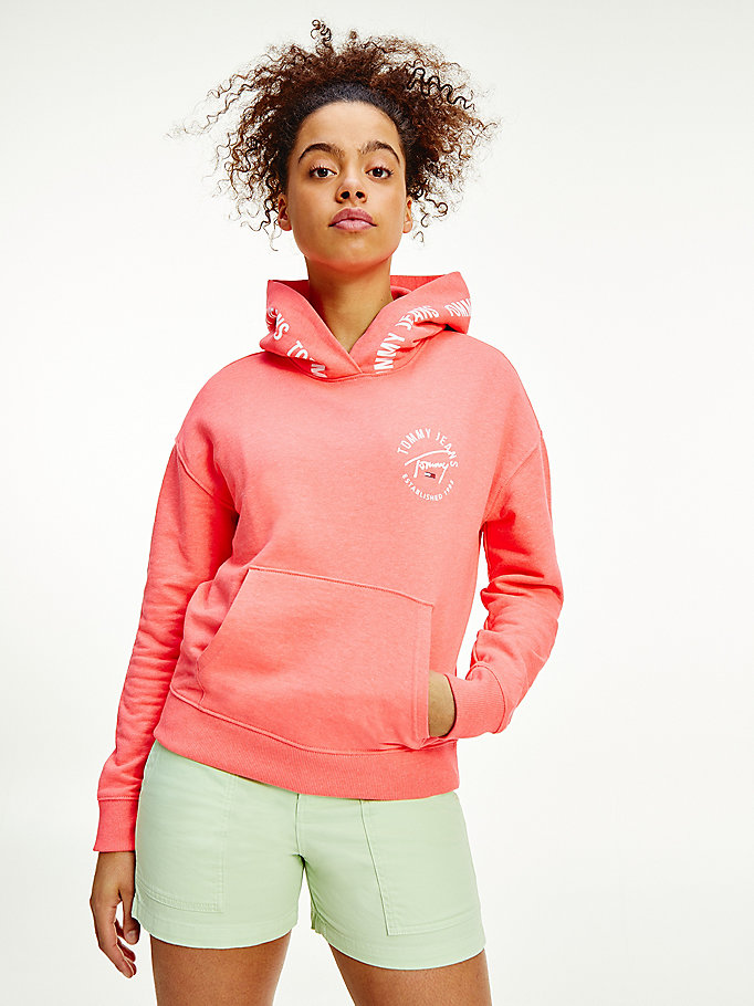 pink repeat logo tape organic cotton hoody for women tommy jeans