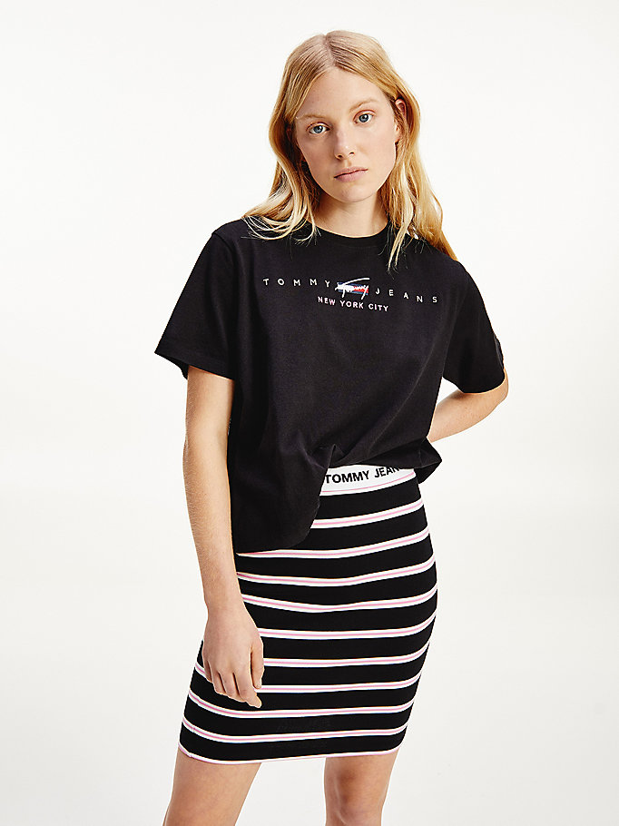 black logo cropped fit t-shirt for women tommy jeans