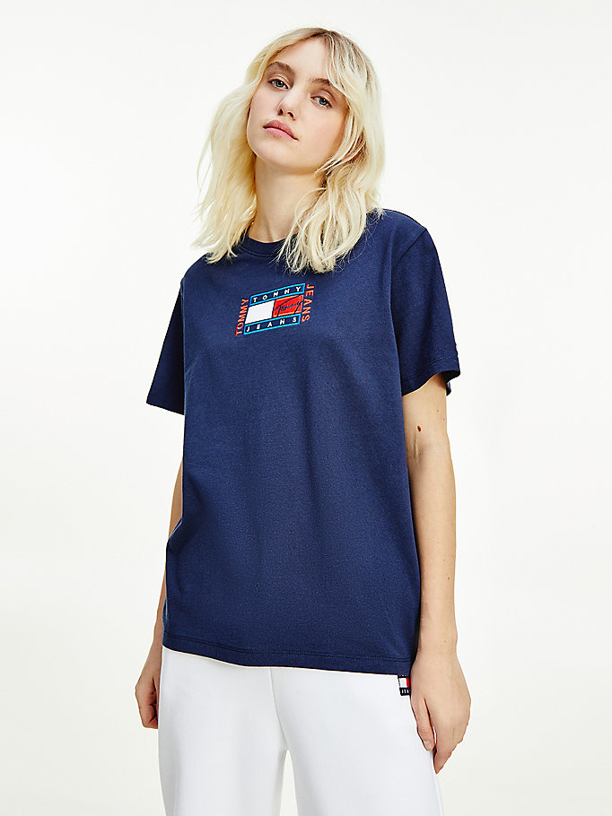 blau relaxed fit t-shirt mit logo-stickerei für damen - tommy jeans