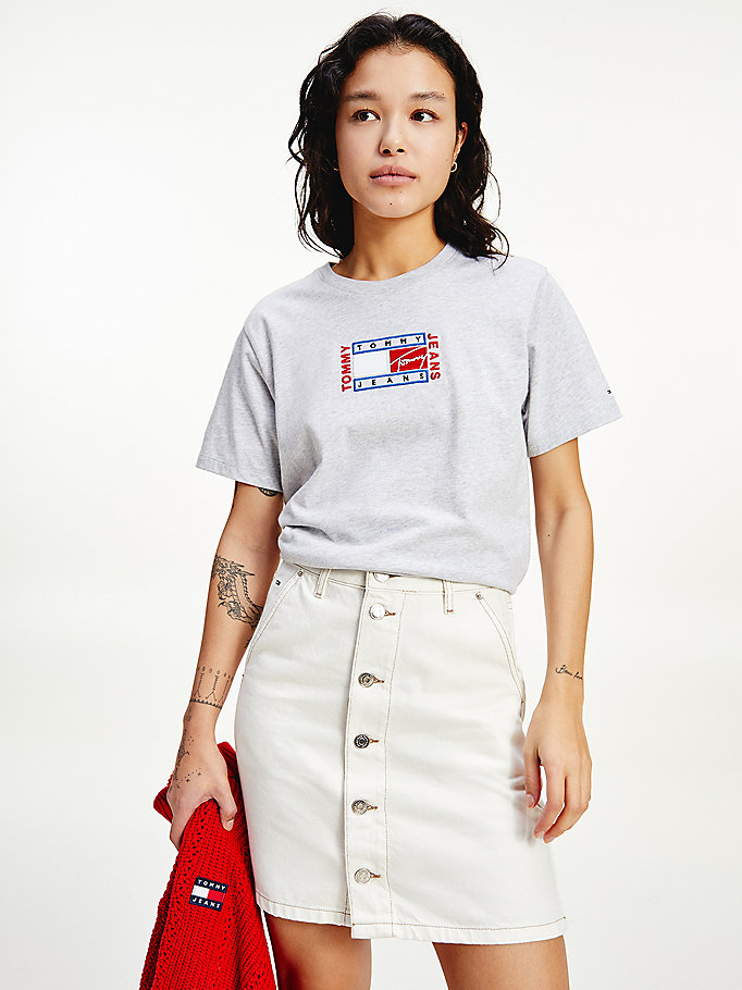 grey logo embroidery relaxed fit t-shirt for women tommy jeans
