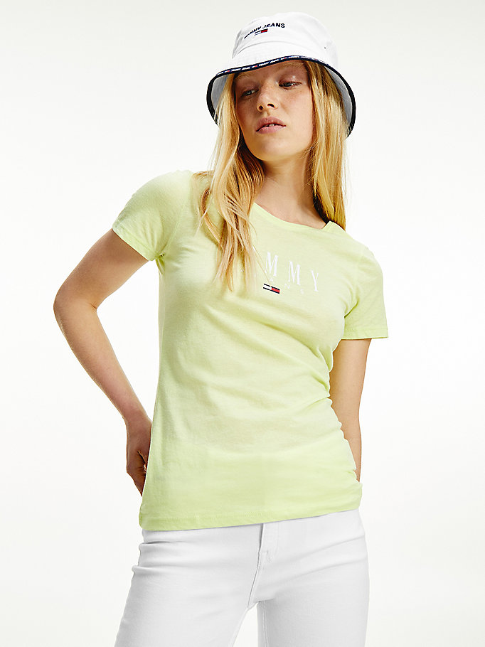 green essential skinny fit t-shirt for women tommy jeans