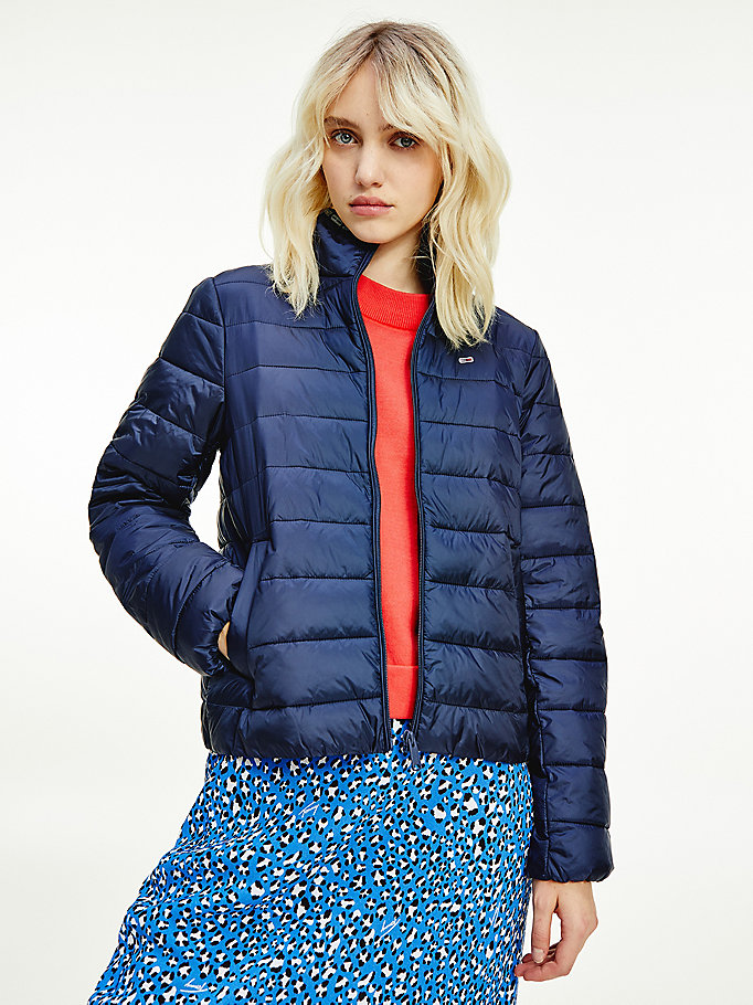 blue quilted zip-thru jacket for women tommy jeans