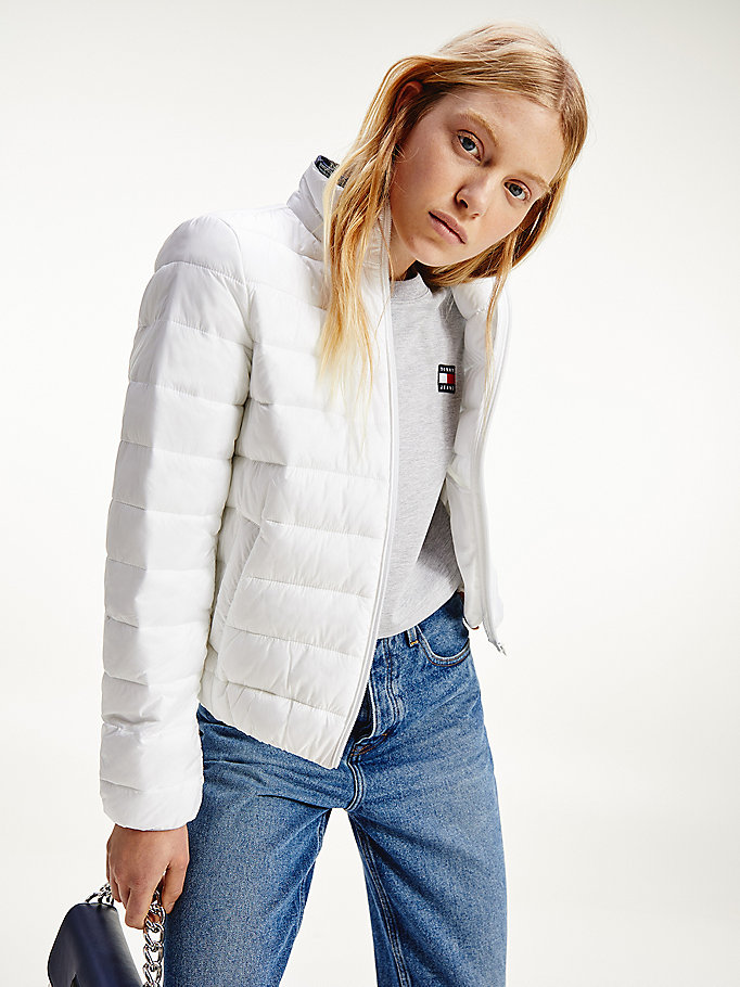 white quilted zip-thru jacket for women tommy jeans