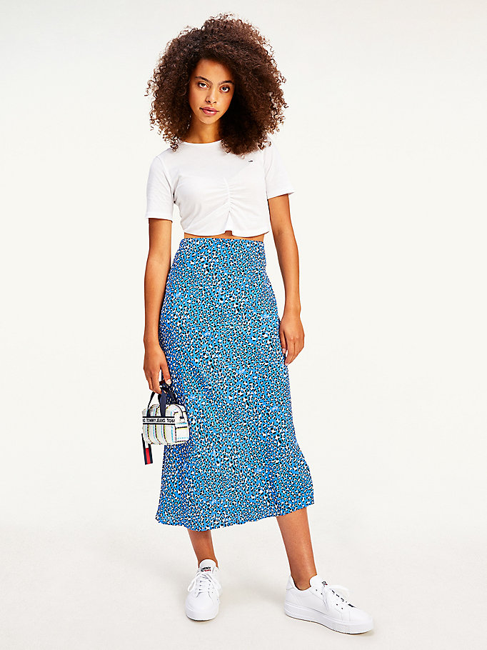 blue logo leopard print midi skirt for women tommy jeans