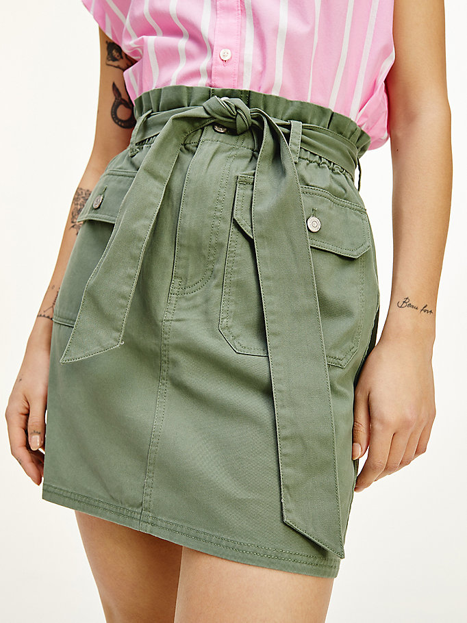 green tommy badge organic utility mini skirt for women tommy jeans