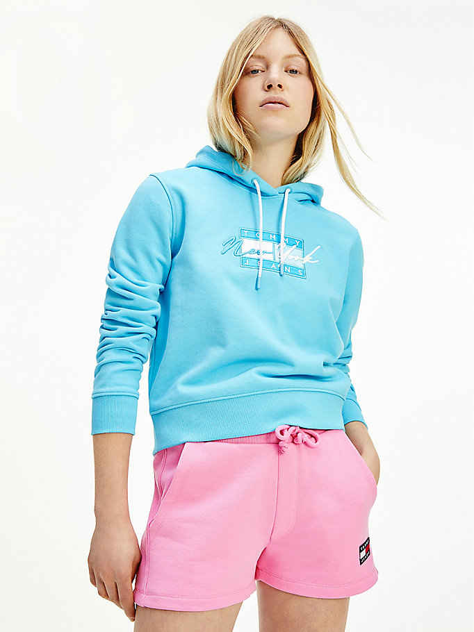 blue cropped tommy jeans logo hoody for women tommy jeans