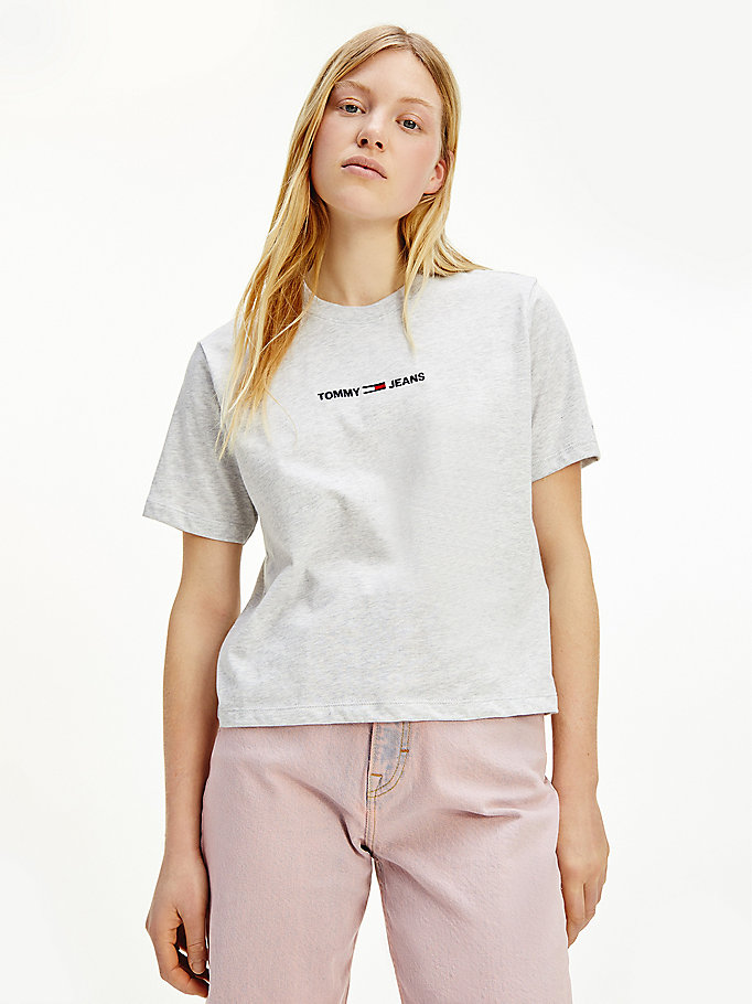 grey logo embroidery cropped fit t-shirt for women tommy jeans