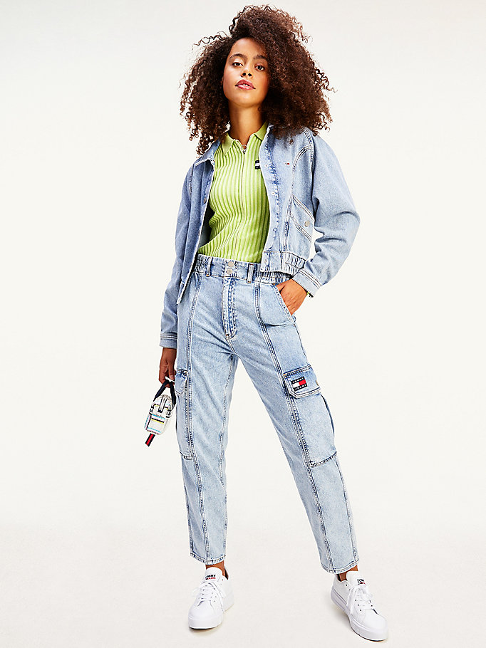 giacca cargo crop in denim con logo denim da women tommy jeans