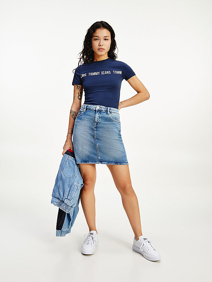 denim classics tommy badge denim skirt for women tommy jeans
