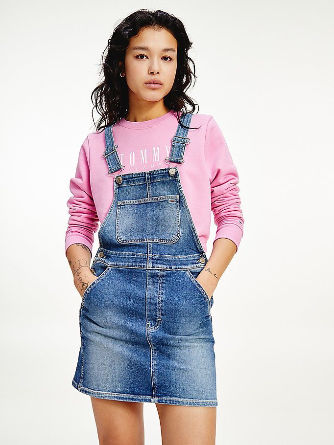 denim classics tommy badge faded dungaree dress for women tommy jeans