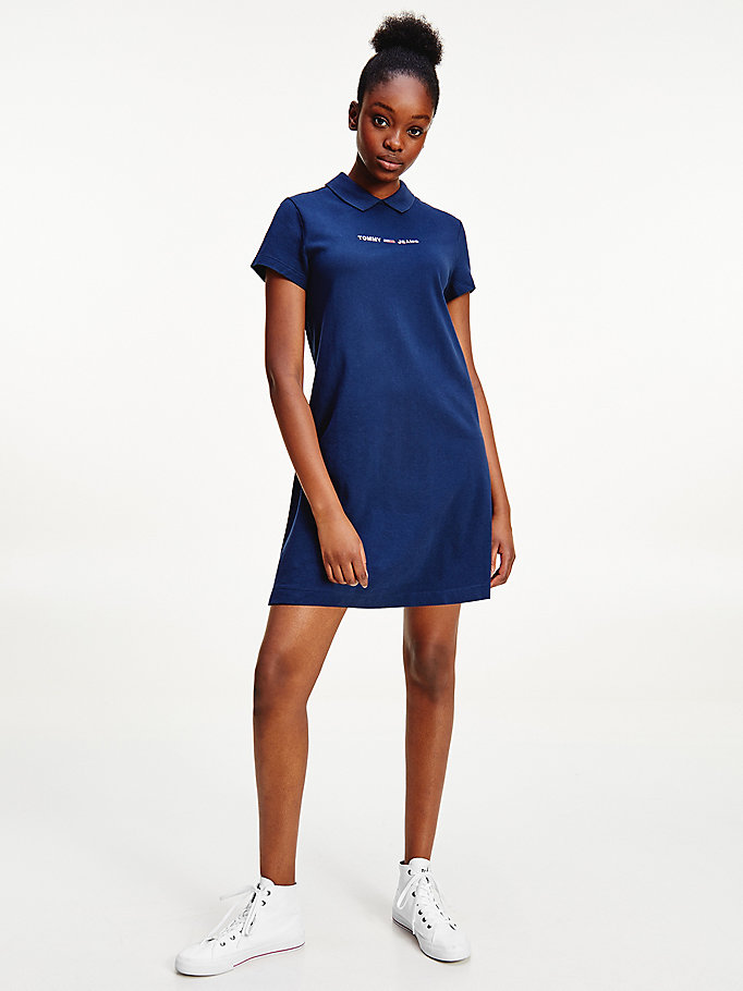 blue essential logo polo dress for women tommy jeans