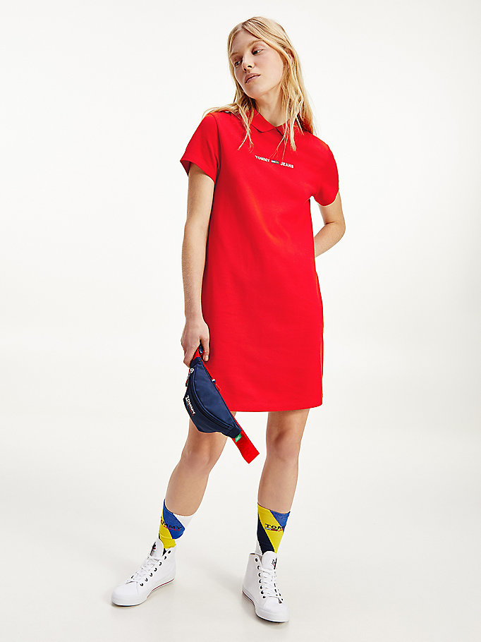 red essential logo polo dress for women tommy jeans
