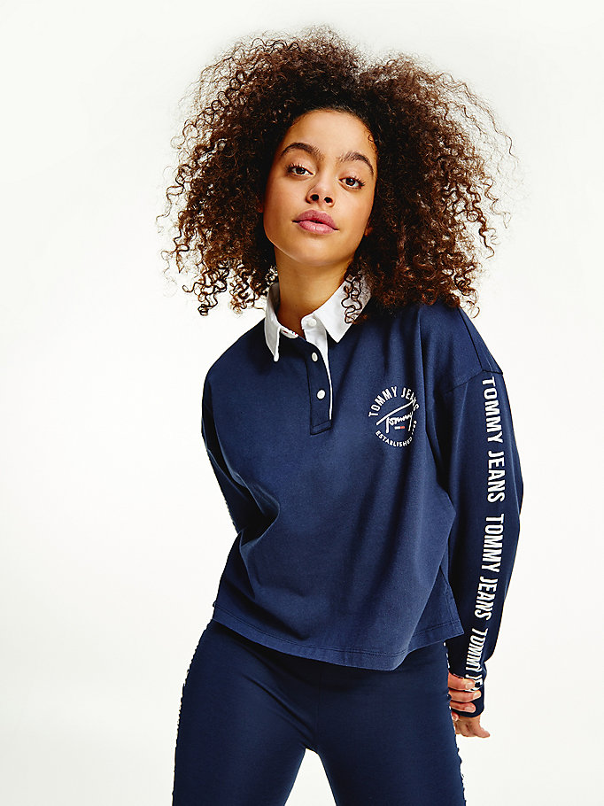 blue repeat logo tape cropped rugby polo for women tommy jeans