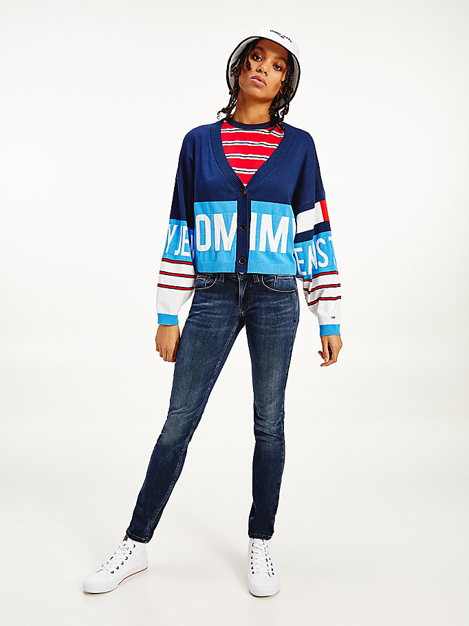 blue colour-blocked logo print cardigan for women tommy jeans