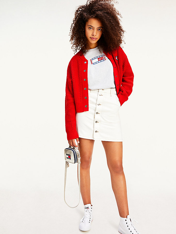 red tommy badge pointelle bomber cardigan for women tommy jeans