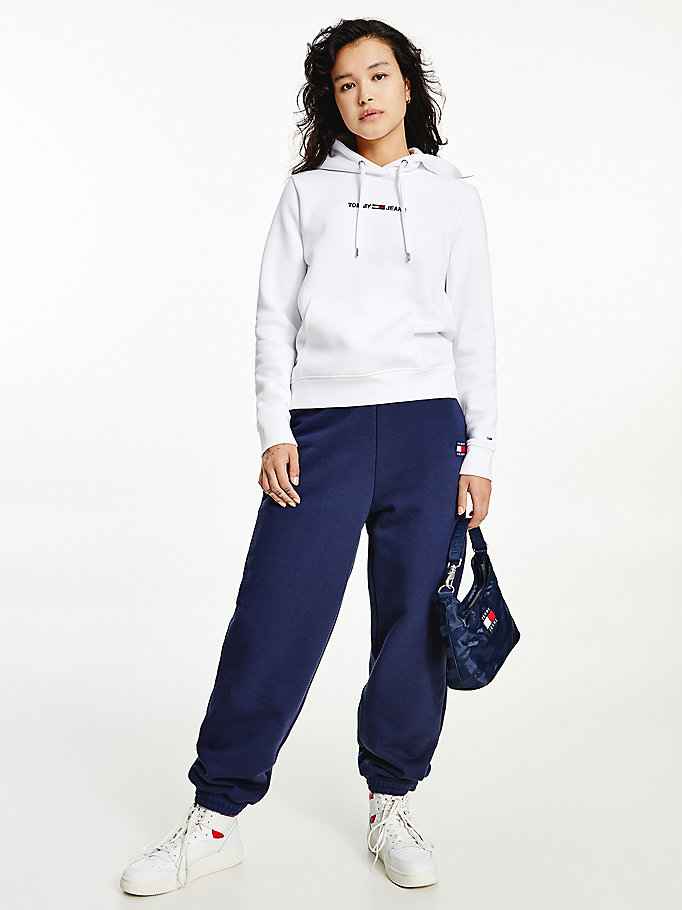 white linear logo hoody for women tommy jeans